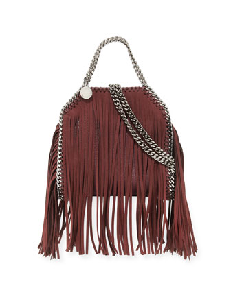 Falabella Tiny Fringe Tote Bag, Plum
