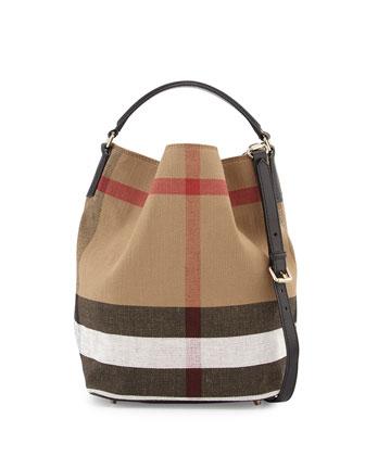 Ashby Check Medium Bucket Bag, Black