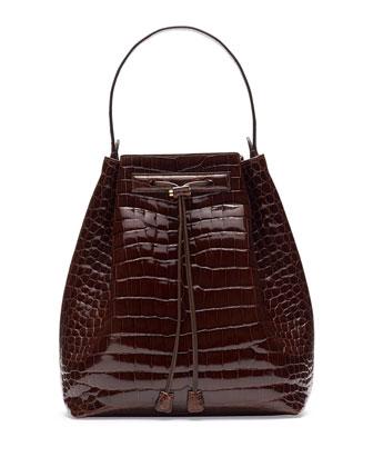 Bucket 9 Crocodile Bombe Bag, Cognac