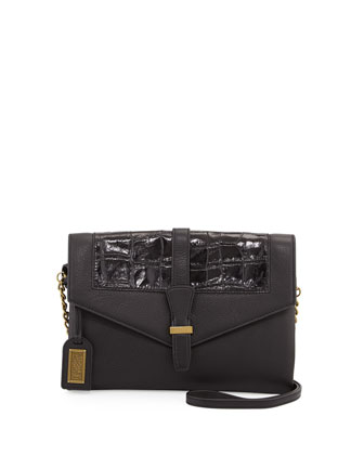 Adelle Crocodile-Embossed Leather Crossbody Bag, Black