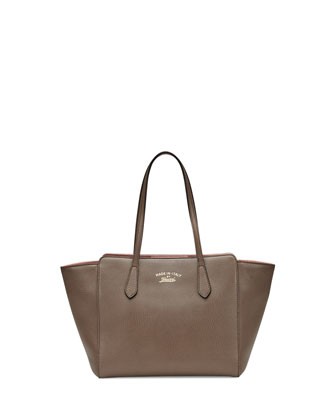 Small Leather Swing Tote Bag, Gray