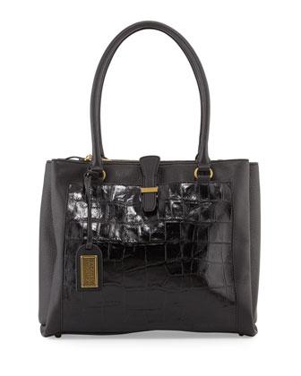 Adelle Crocodile-Embossed Leather Shoulder Bag, Black