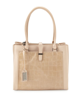 Adelle Crocodile-Embossed Leather Shoulder Bag, Latte