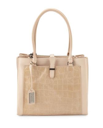 Adelle Crocodile-Embossed Leather Shoulder Bag, Latte