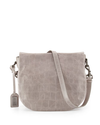 Bette Crocodile-Embossed Leather Crossbody Bag, Dove Gray