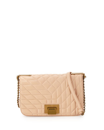 Coralie Quilted-Leather Crossbody Bag, Latte