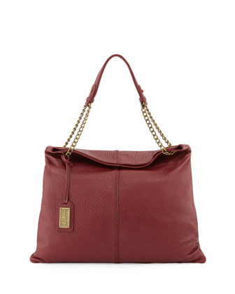 Greta Leather Shoulder Bag, Burgundy
