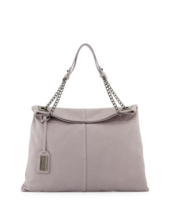 Greta Leather Shoulder Bag, Dove Gray