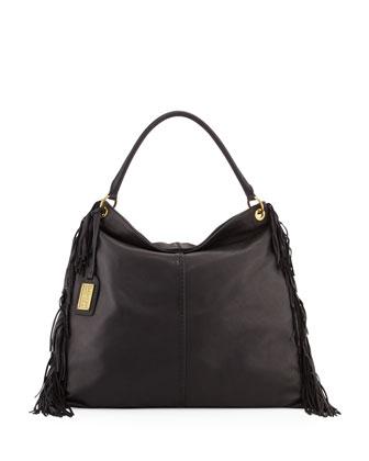 Gaia Leather Crossbody Bag W/Fringe, Black