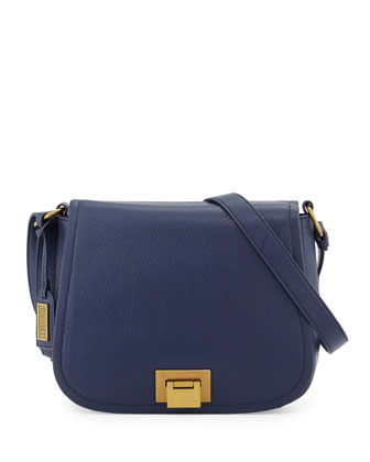 Tessa Leather Crossbody Bag, Navy