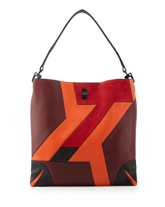 Sullivan Patchwork Leather Hobo Bag, Bordeaux