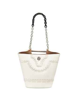 Mini Pickstitch Bucket Bag, White