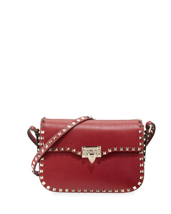 Rockstud Leather Flap-Top Shoulder Bag, Scarlet