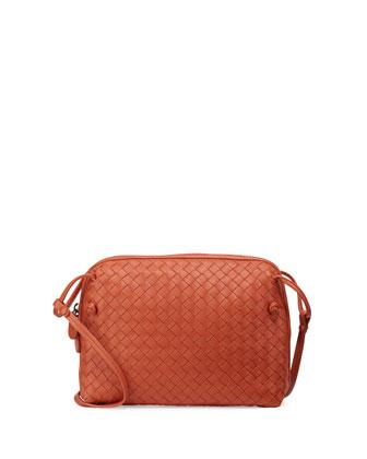 Intrecciato Small Zip Messenger Bag, Orange