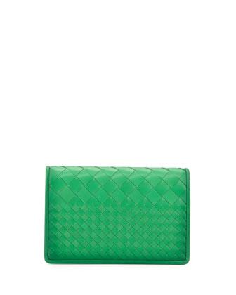 Montebello Intrecciato Medium Woven Clutch Bag, Irish Green