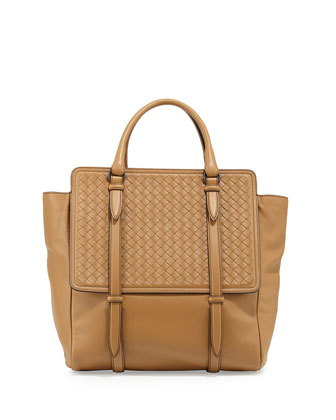 Intrecciato Large Flap Tote Bag, Camel