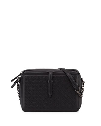 Intrecciato Napa Medium Camera Shoulder Bag, Black
