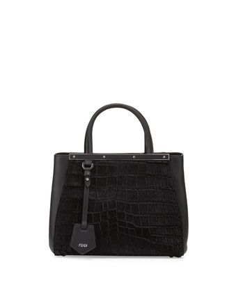 2Jours Petite Croc-Embossed Calf Hair Satchel Bag, Black