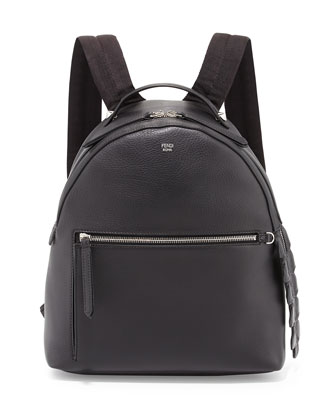 Leather Large Dome Backpack, Black