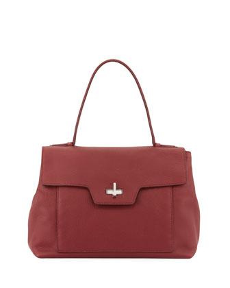 Leather Medium Half-Flap Shoulder Bag, Red (Cerise)