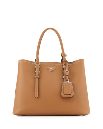 Large Calf Leather Tote Bag, Camel (Canella)