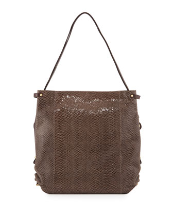 Jessica Embossed-Leather Shoulder Bag, Taupe