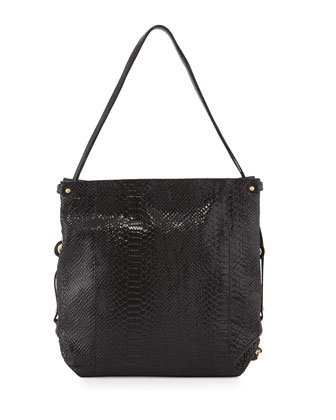 Jessica Embossed-Leather Shoulder Bag, Black