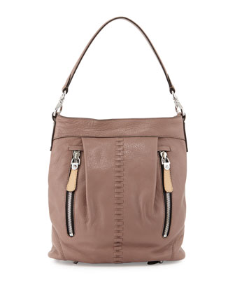 Marlene Leather Shoulder Bag, Mushroom