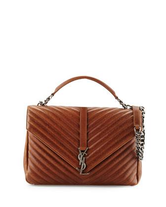 Monogram Medium V-Flap Chevron Shoulder Bag, Cognac