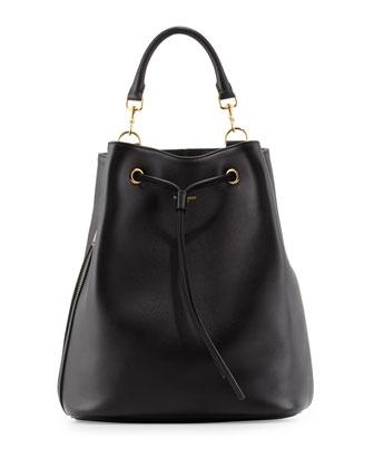 Leather Medium Drawstring Backpack, Black