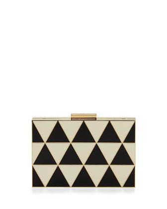 Geometric Small Enamel Minaudiere, Black/Ivory