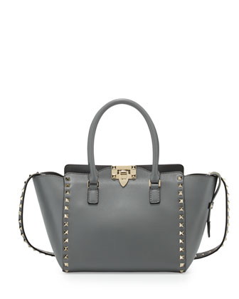 Rockstud Small Pagoda Shopper Tote Bag, Pebble Light Gray