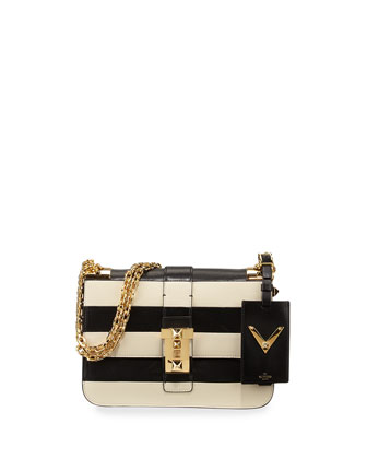 B-Rockstud Striped Shoulder Bag, Black/Ivory