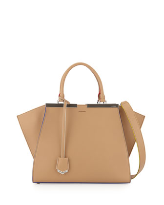 3 Jours Leather Satchel Bag, Beige