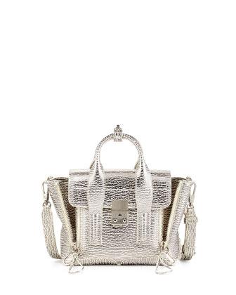 Pashli Mini Shark-Embossed Satchel Bag, Natural/Silver