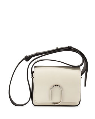 Alix Flap Mini Crossbody Bag, Off White/Black