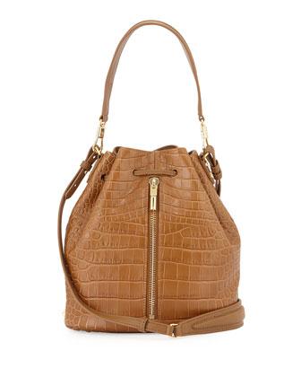 Cynnie Crocodile-Embossed Bucket Bag, Camel