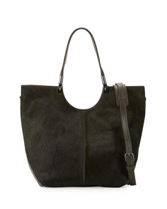 Cynnie Calf Hair Convertible Shopper Bag, Deep Olive