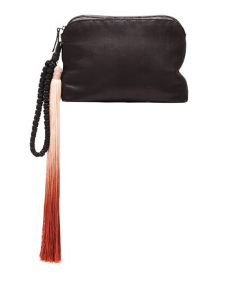 Satin Tassel Detail Wristlet, Black/Multi