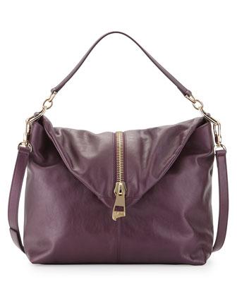 Pearl Leather Shoulder Bag, Dark Purple/Brown
