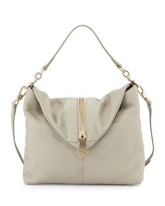 Leather Shoulder Bag, Gray