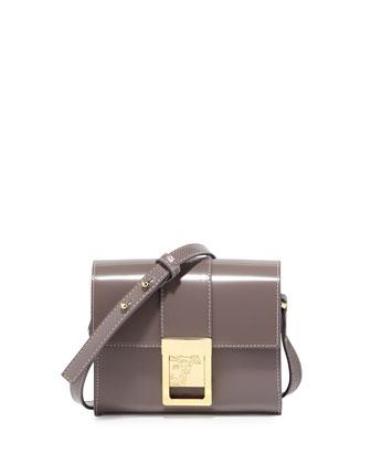 Leather Mini Shoulder Bag, Medium Brown