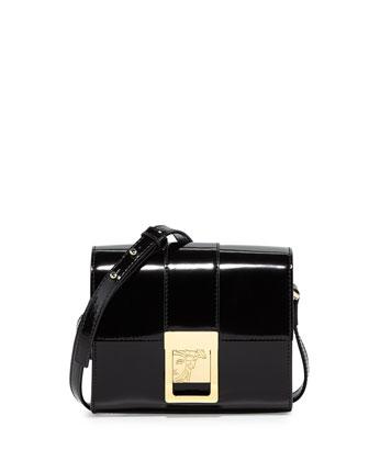 Leather Mini Shoulder Bag, Black