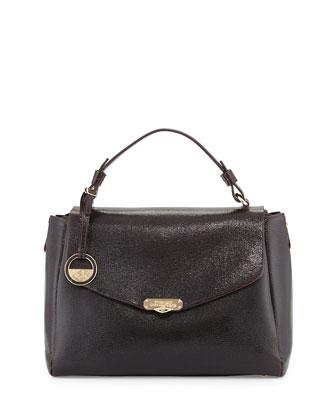 Leather Satchel Bag, Bordeaux/Black