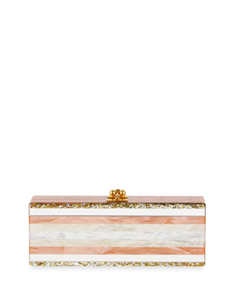 Flavia Striped Clutch Bag, Terra Cotta
