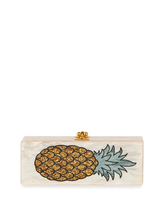 Flavia Pineapple Clutch Bag, Nude