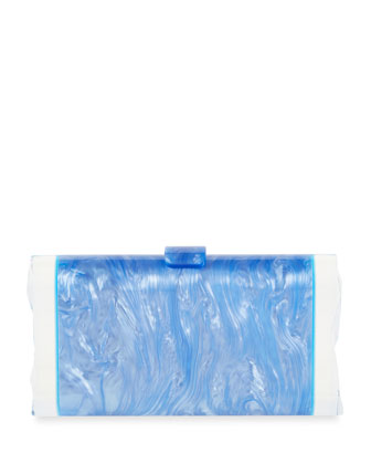 Lara Acrylic Ice Clutch Bag, Iris/Blue Floure