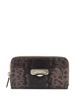 Embossed-Leather Zip-Around Wallet, Gray