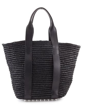 Raffia Leather-Trim Tote Bag, Panier Black/Iridescent