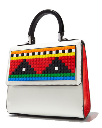 Alex Mini Geometry Crossbody Bag, White/Red/Black